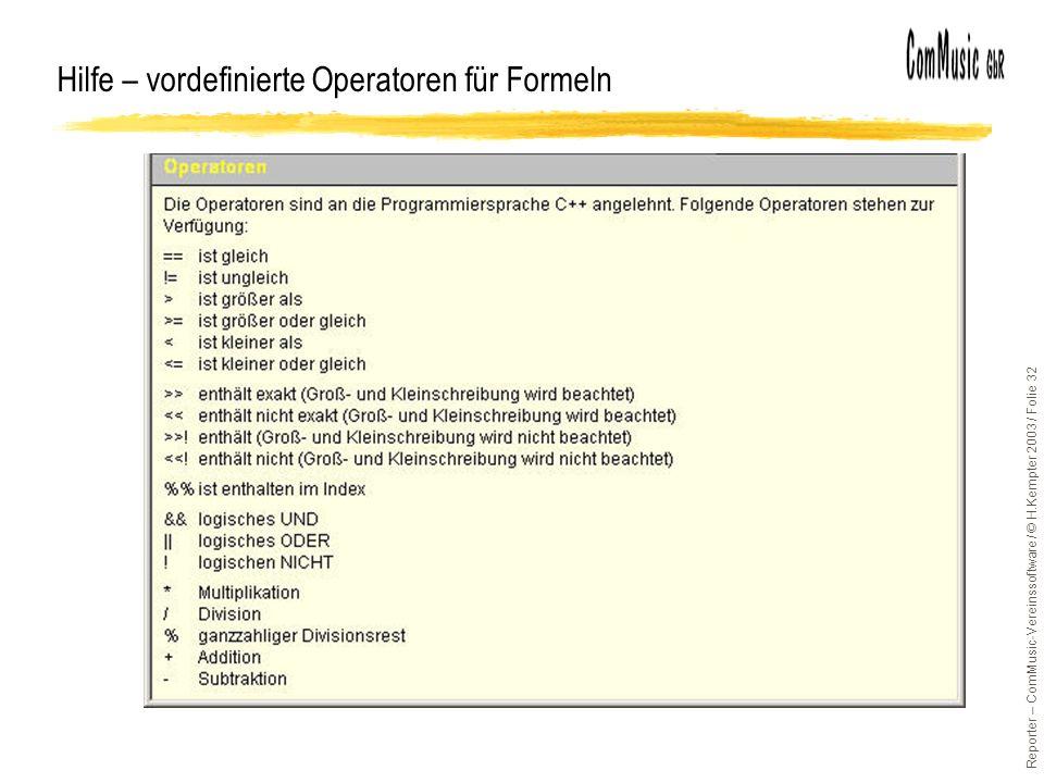 Hilfe – vordefinierte Operatoren für Formeln