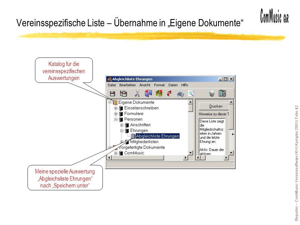 """Vereinsspezifische Liste – Übernahme in """"Eigene Dokumente"""