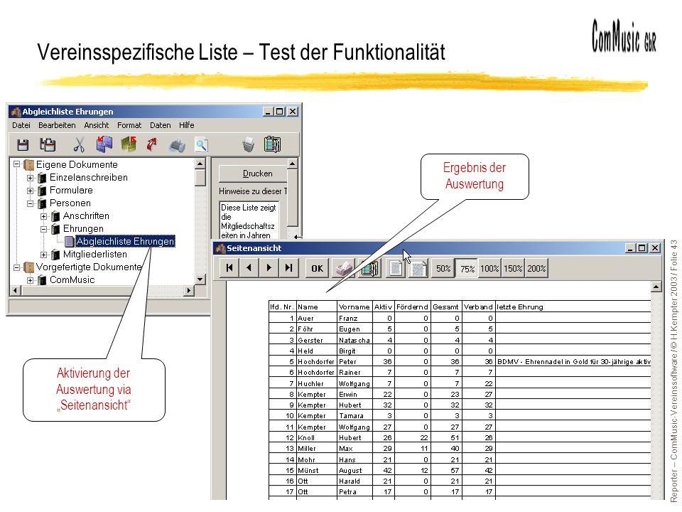 Vereinsspezifische Liste – Test der Funktionalität