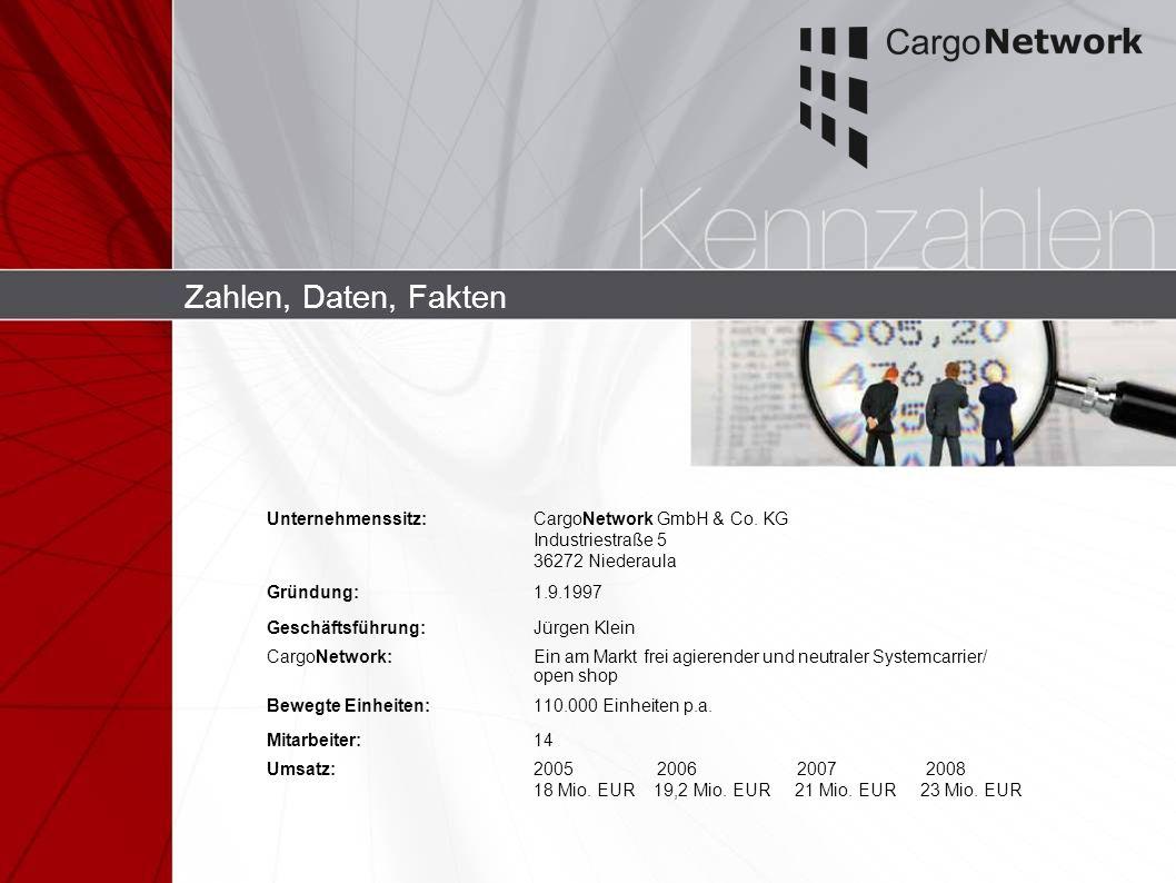 Zahlen, Daten, FaktenUnternehmenssitz: CargoNetwork GmbH & Co. KG Industriestraße 5 36272 Niederaula.