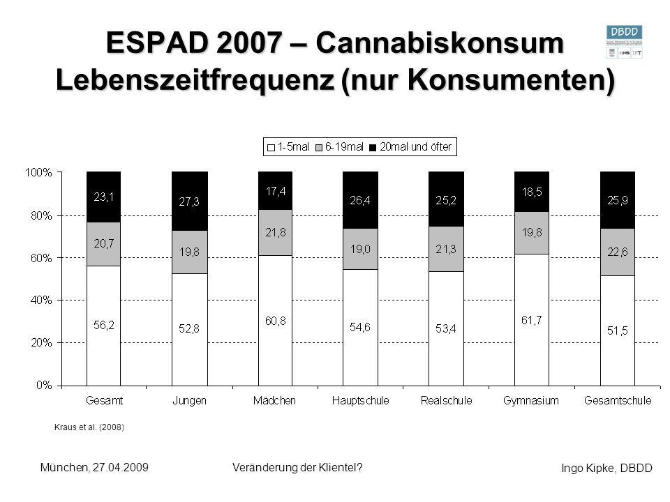 ESPAD 2007 – Cannabiskonsum Lebenszeitfrequenz (nur Konsumenten)