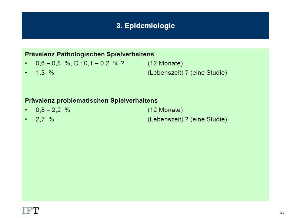 3. Epidemiologie Prävalenz Pathologischen Spielverhaltens