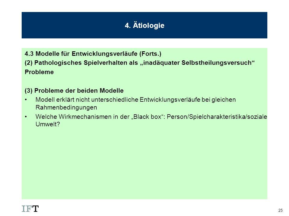 4. Ätiologie 4.3 Modelle für Entwicklungsverläufe (Forts.)