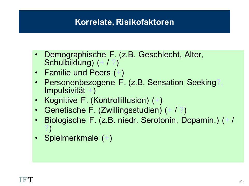 Korrelate, Risikofaktoren