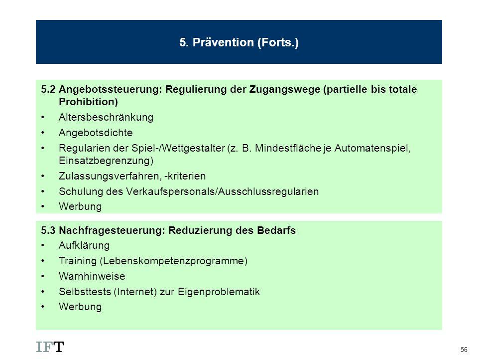 5. Prävention (Forts.) 5.2 Angebotssteuerung: Regulierung der Zugangswege (partielle bis totale Prohibition)