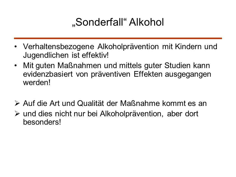 """""""Sonderfall Alkohol Verhaltensbezogene Alkoholprävention mit Kindern und Jugendlichen ist effektiv!"""
