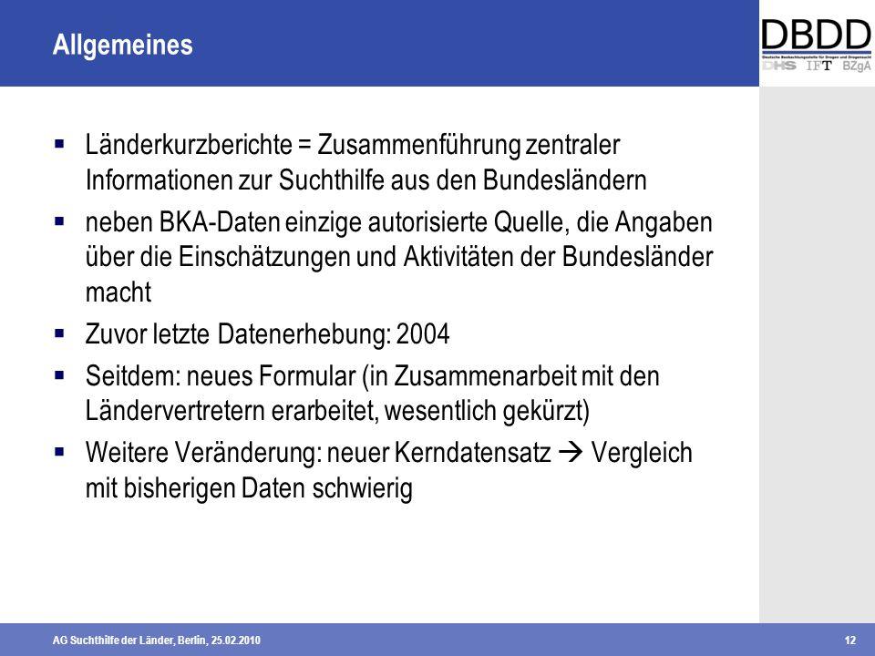 Allgemeines Länderkurzberichte = Zusammenführung zentraler Informationen zur Suchthilfe aus den Bundesländern.