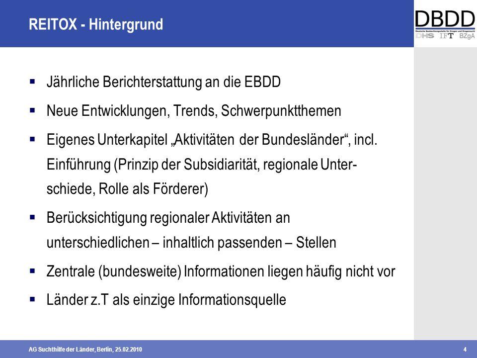 REITOX - Hintergrund Jährliche Berichterstattung an die EBDD. Neue Entwicklungen, Trends, Schwerpunktthemen.