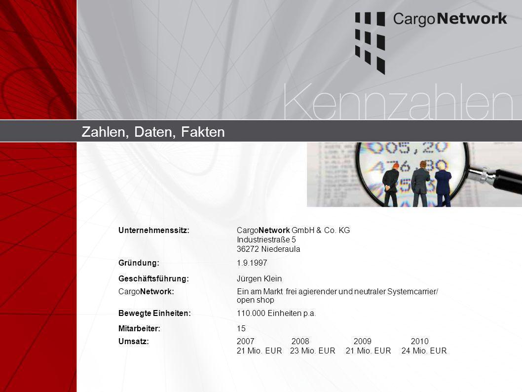 Zahlen, Daten, Fakten Unternehmenssitz: CargoNetwork GmbH & Co. KG Industriestraße 5 36272 Niederaula.