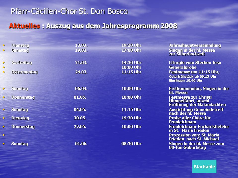 Aktuelles : Auszug aus dem Jahresprogramm 2008