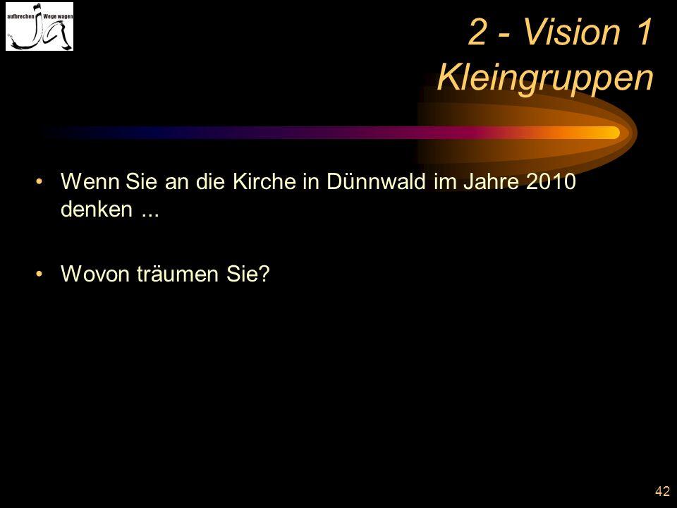 2 - Vision 1 Kleingruppen Wenn Sie an die Kirche in Dünnwald im Jahre 2010 denken ...