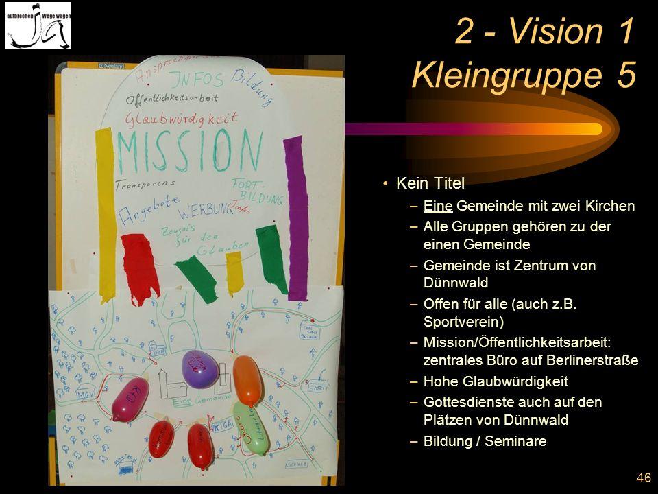 2 - Vision 1 Kleingruppe 5 Kein Titel Eine Gemeinde mit zwei Kirchen
