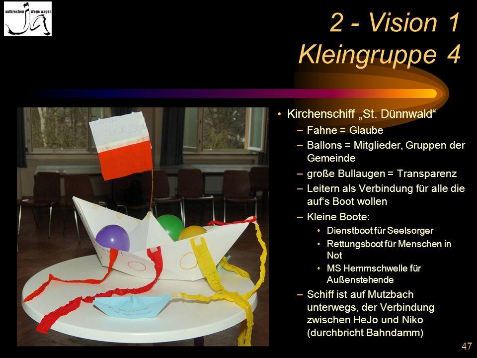 "2 - Vision 1 Kleingruppe 4 Kirchenschiff ""St. Dünnwald Fahne = Glaube"