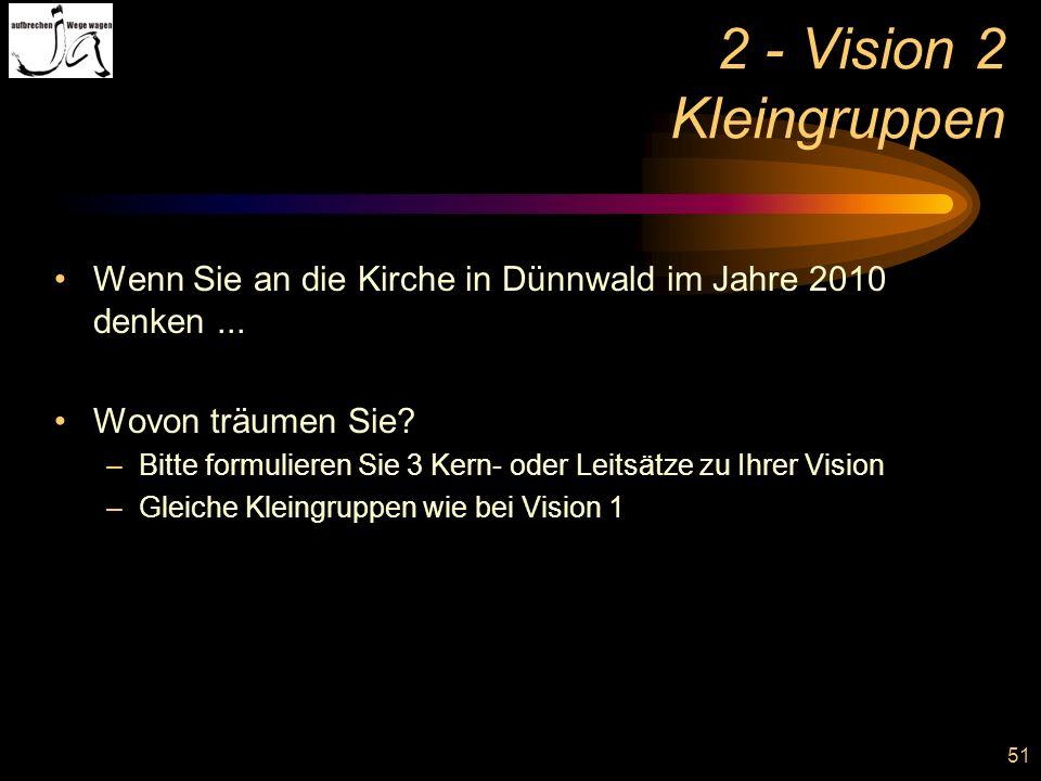 2 - Vision 2 Kleingruppen Wenn Sie an die Kirche in Dünnwald im Jahre 2010 denken ... Wovon träumen Sie