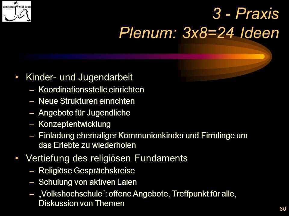 3 - Praxis Plenum: 3x8=24 Ideen