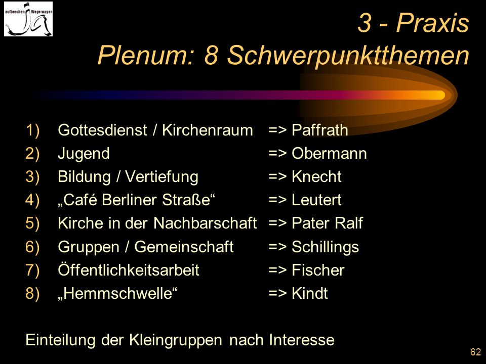 3 - Praxis Plenum: 8 Schwerpunktthemen