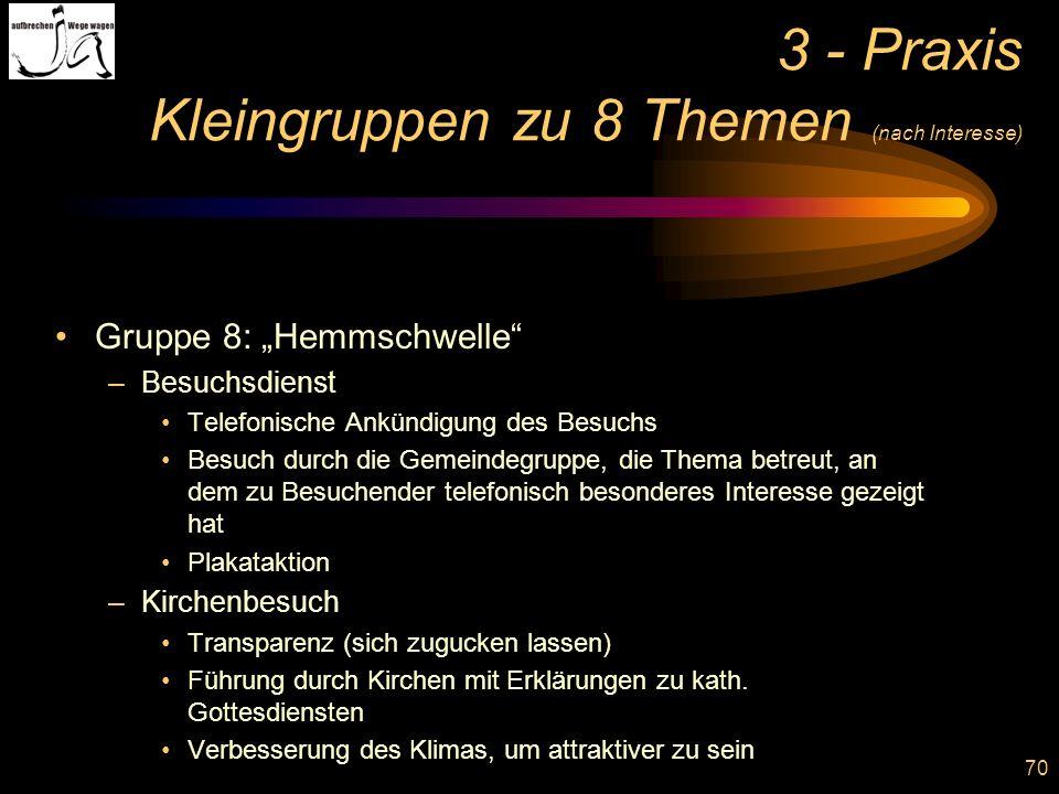 3 - Praxis Kleingruppen zu 8 Themen (nach Interesse)