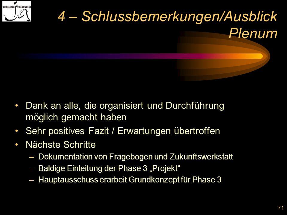 4 – Schlussbemerkungen/Ausblick Plenum