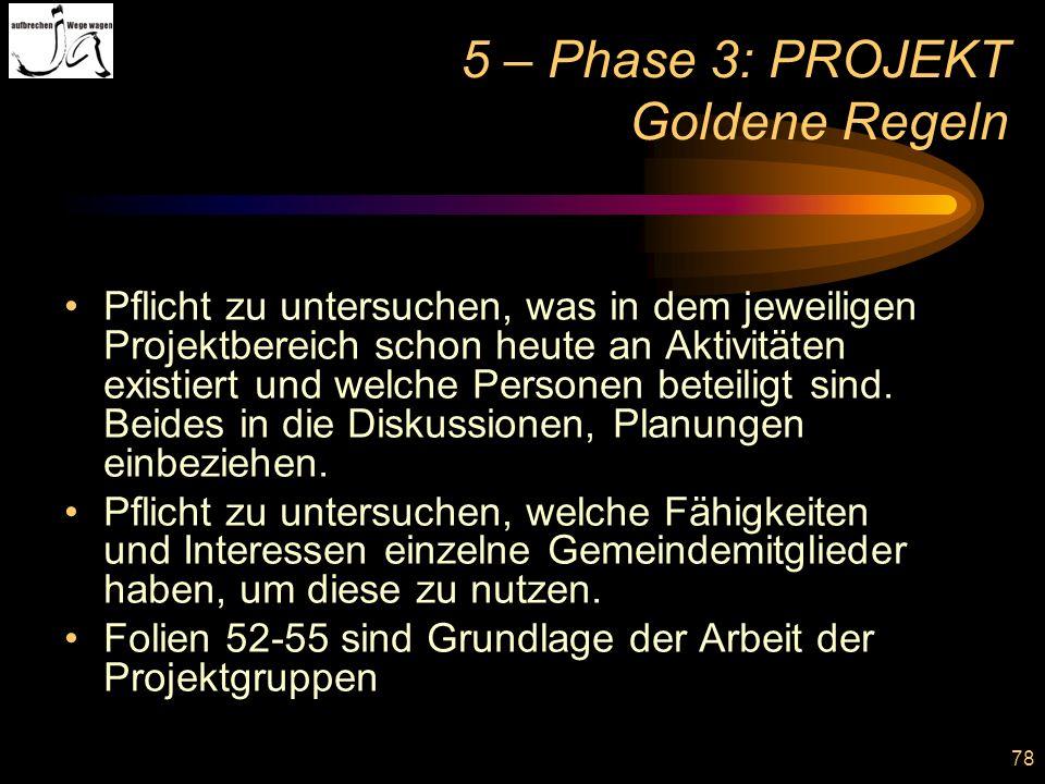 5 – Phase 3: PROJEKT Goldene Regeln