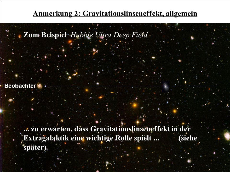 Anmerkung 2: Gravitationslinseneffekt, allgemein