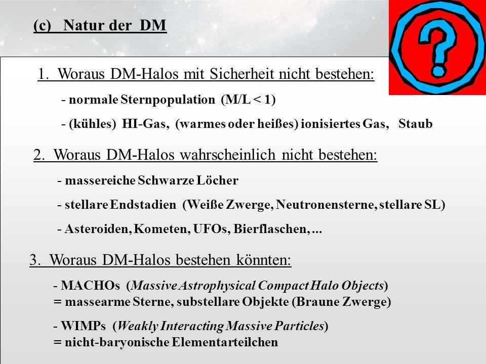 (c) Natur der DM 3.6.15. 1. Woraus DM-Halos mit Sicherheit nicht bestehen: - normale Sternpopulation (M/L < 1)