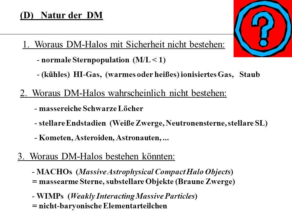(D) Natur der DM 3.6.15. 1. Woraus DM-Halos mit Sicherheit nicht bestehen: - normale Sternpopulation (M/L < 1)