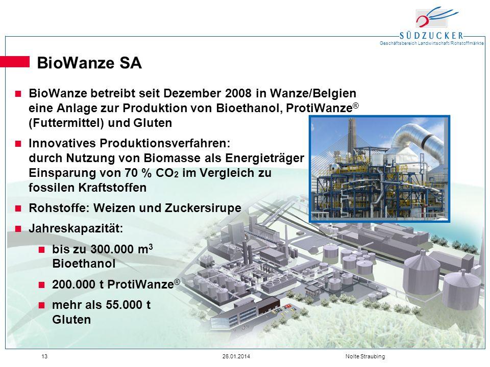 BioWanze SA BioWanze betreibt seit Dezember 2008 in Wanze/Belgien eine Anlage zur Produktion von Bioethanol, ProtiWanze® (Futtermittel) und Gluten.