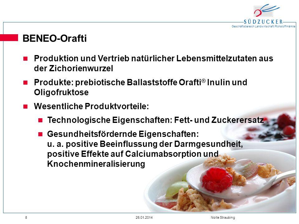 BENEO-Orafti Produktion und Vertrieb natürlicher Lebensmittelzutaten aus der Zichorienwurzel.