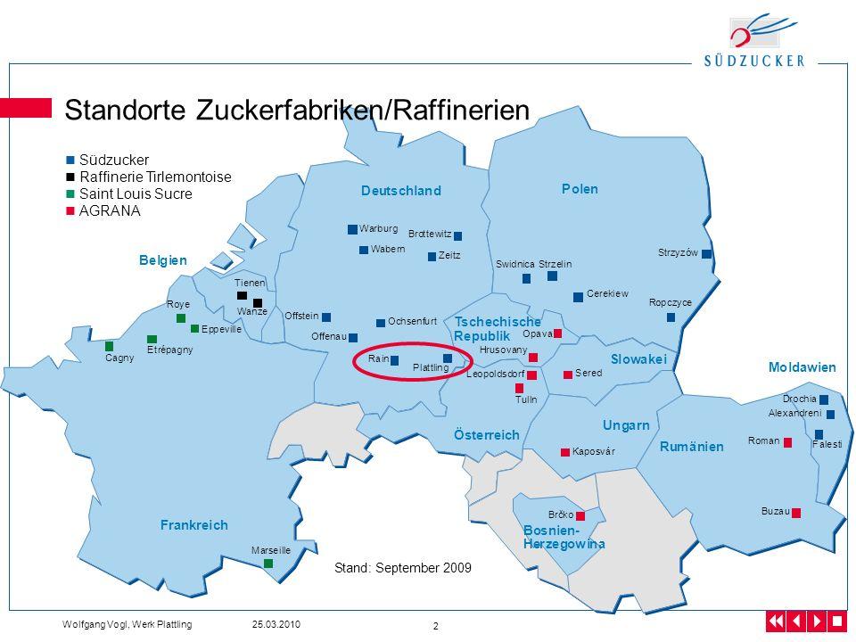 Standorte Zuckerfabriken/Raffinerien