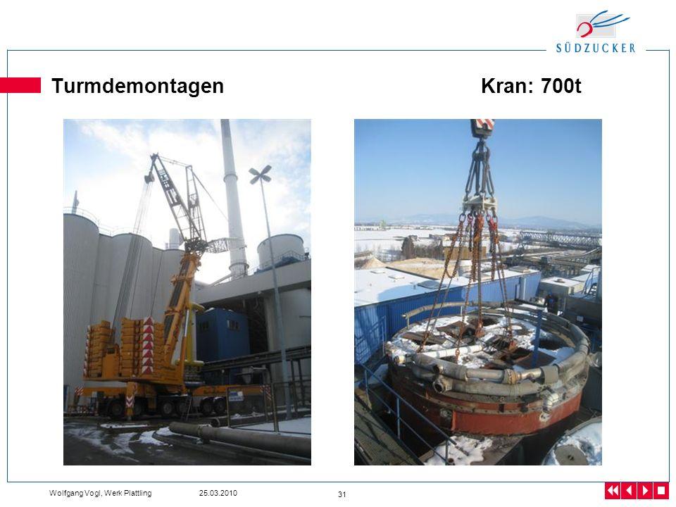 Turmdemontagen Kran: 700t Wolfgang Vogl, Werk Plattling 25.03.2010