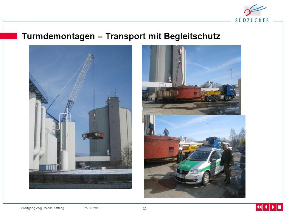 Turmdemontagen – Transport mit Begleitschutz