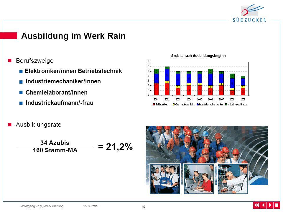 Ausbildung im Werk Rain