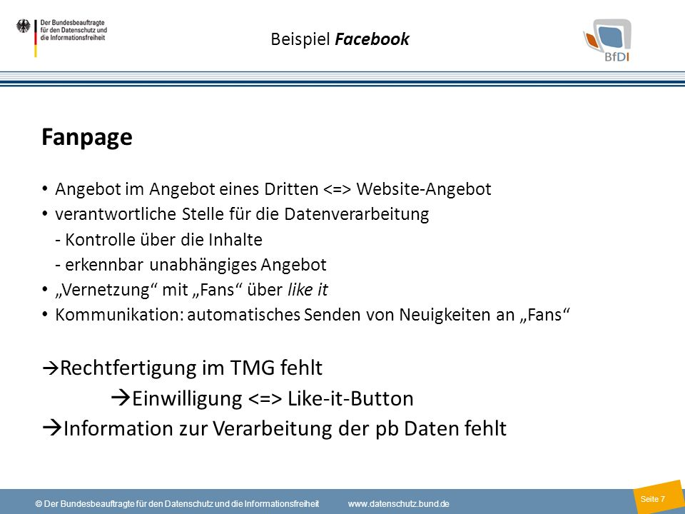 Fanpage Einwilligung <=> Like-it-Button
