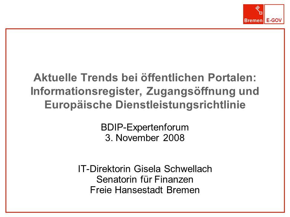 Aktuelle Trends bei öffentlichen Portalen: Informationsregister, Zugangsöffnung und Europäische Dienstleistungsrichtlinie