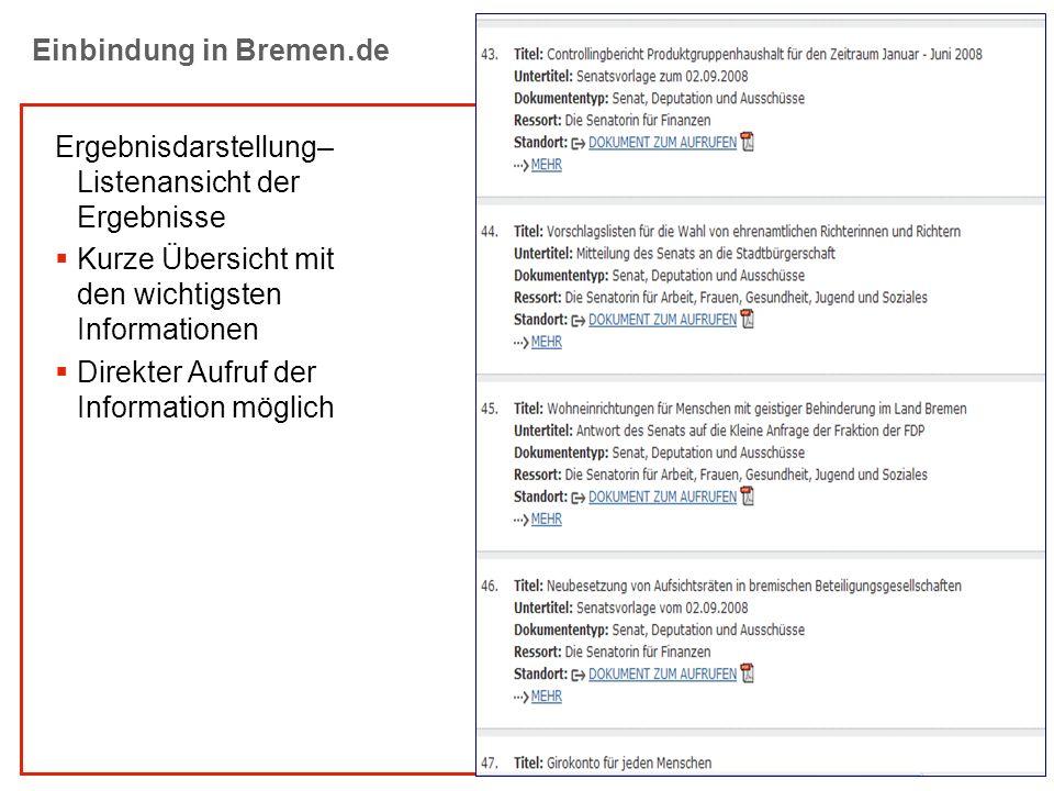Einbindung in Bremen.de