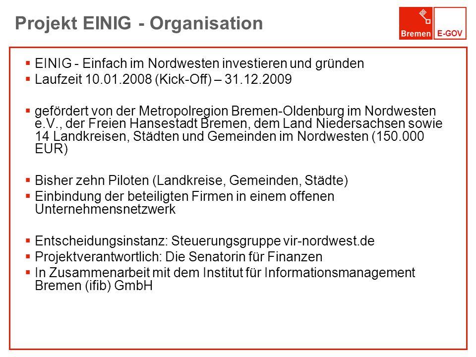 Projekt EINIG - Organisation