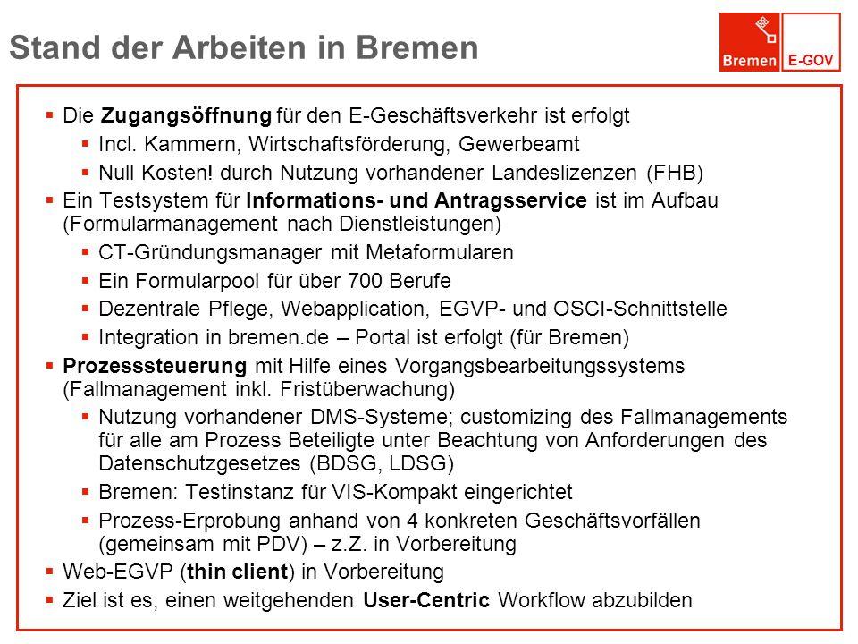 Stand der Arbeiten in Bremen