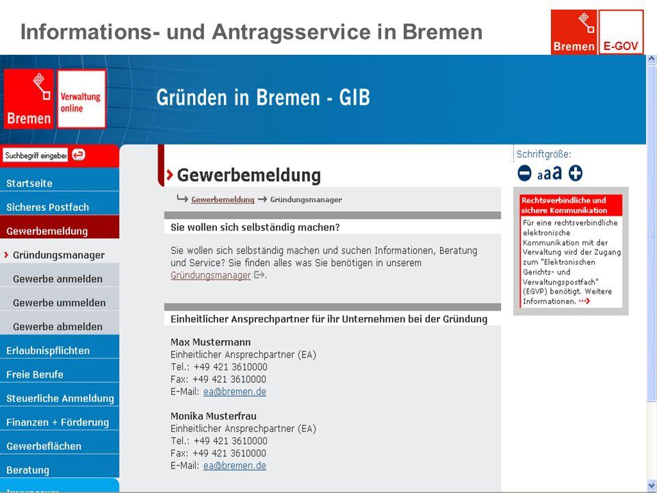 Informations- und Antragsservice in Bremen