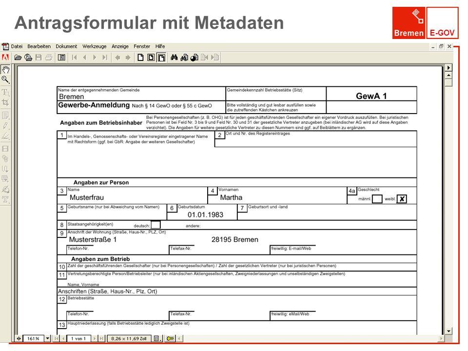 Antragsformular mit Metadaten