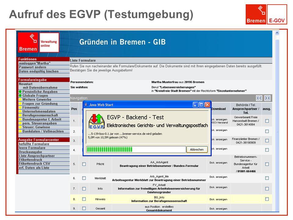 Aufruf des EGVP (Testumgebung)
