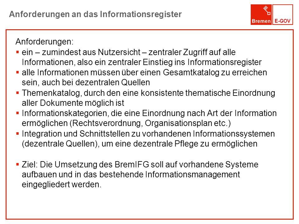 Anforderungen an das Informationsregister