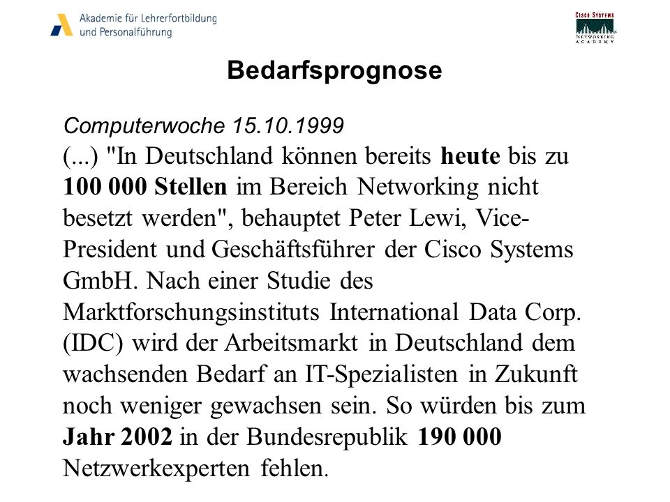 Bedarfsprognose Computerwoche