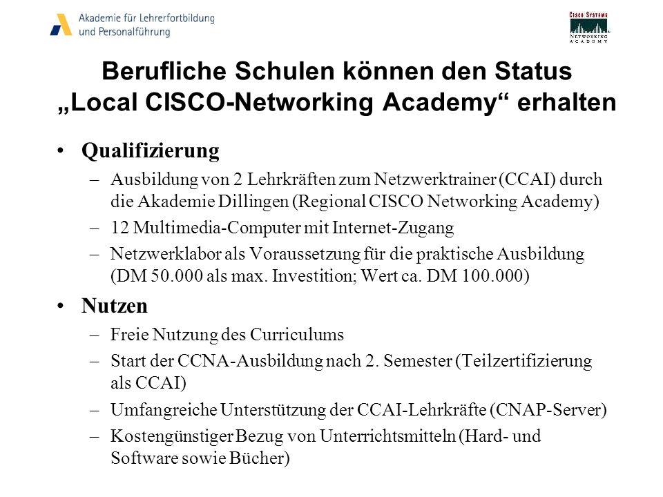 """Berufliche Schulen können den Status """"Local CISCO-Networking Academy erhalten"""