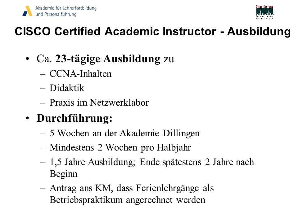 CISCO Certified Academic Instructor - Ausbildung