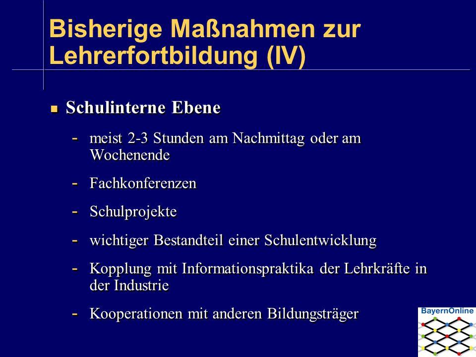 Bisherige Maßnahmen zur Lehrerfortbildung (IV)