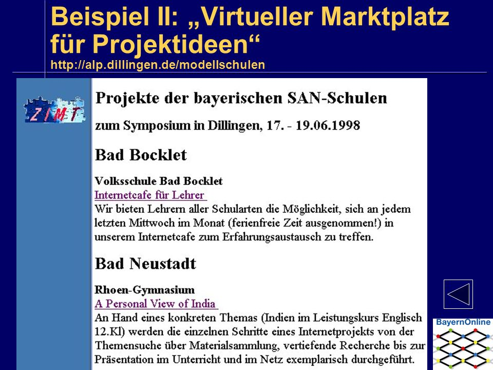 """Beispiel II: """"Virtueller Marktplatz für Projektideen http://alp"""