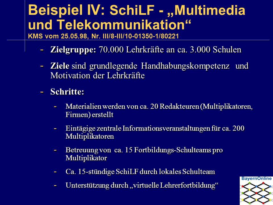 """Beispiel IV: SchiLF - """"Multimedia und Telekommunikation KMS vom 25.05.98, Nr. III/8-III/10-01350-1/80221"""