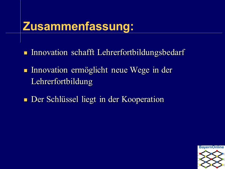Zusammenfassung: Innovation schafft Lehrerfortbildungsbedarf