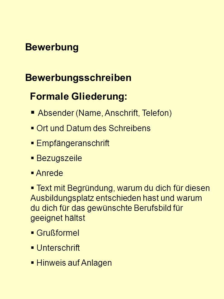 Absender (Name, Anschrift, Telefon)