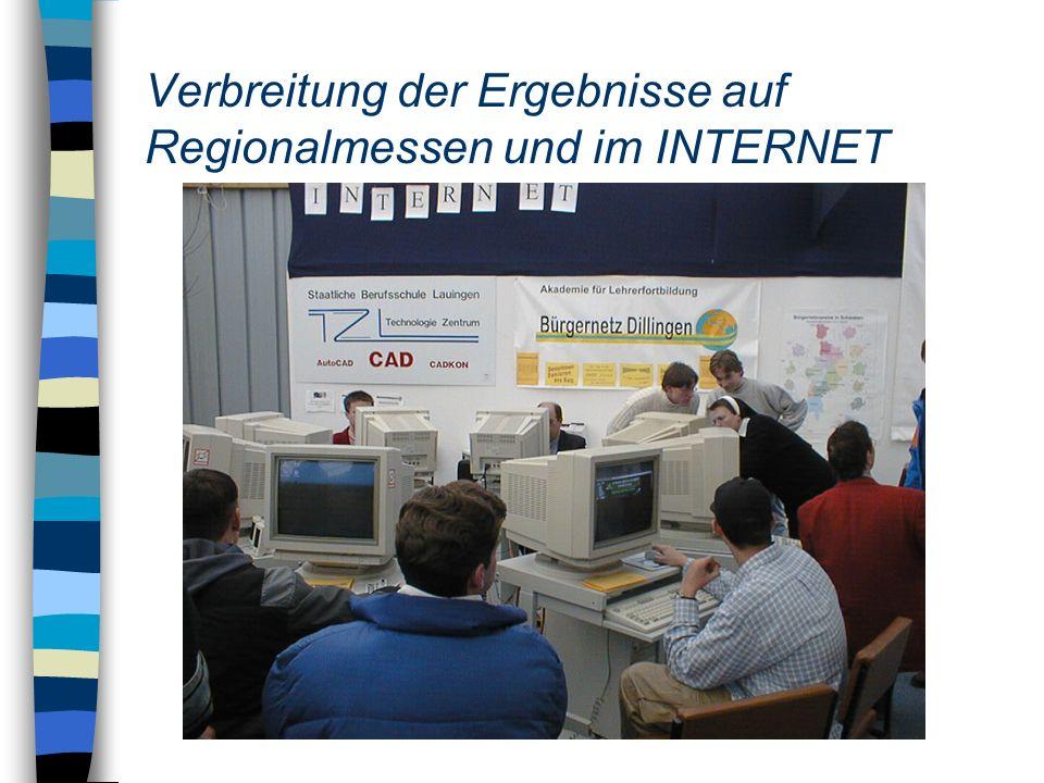 Verbreitung der Ergebnisse auf Regionalmessen und im INTERNET